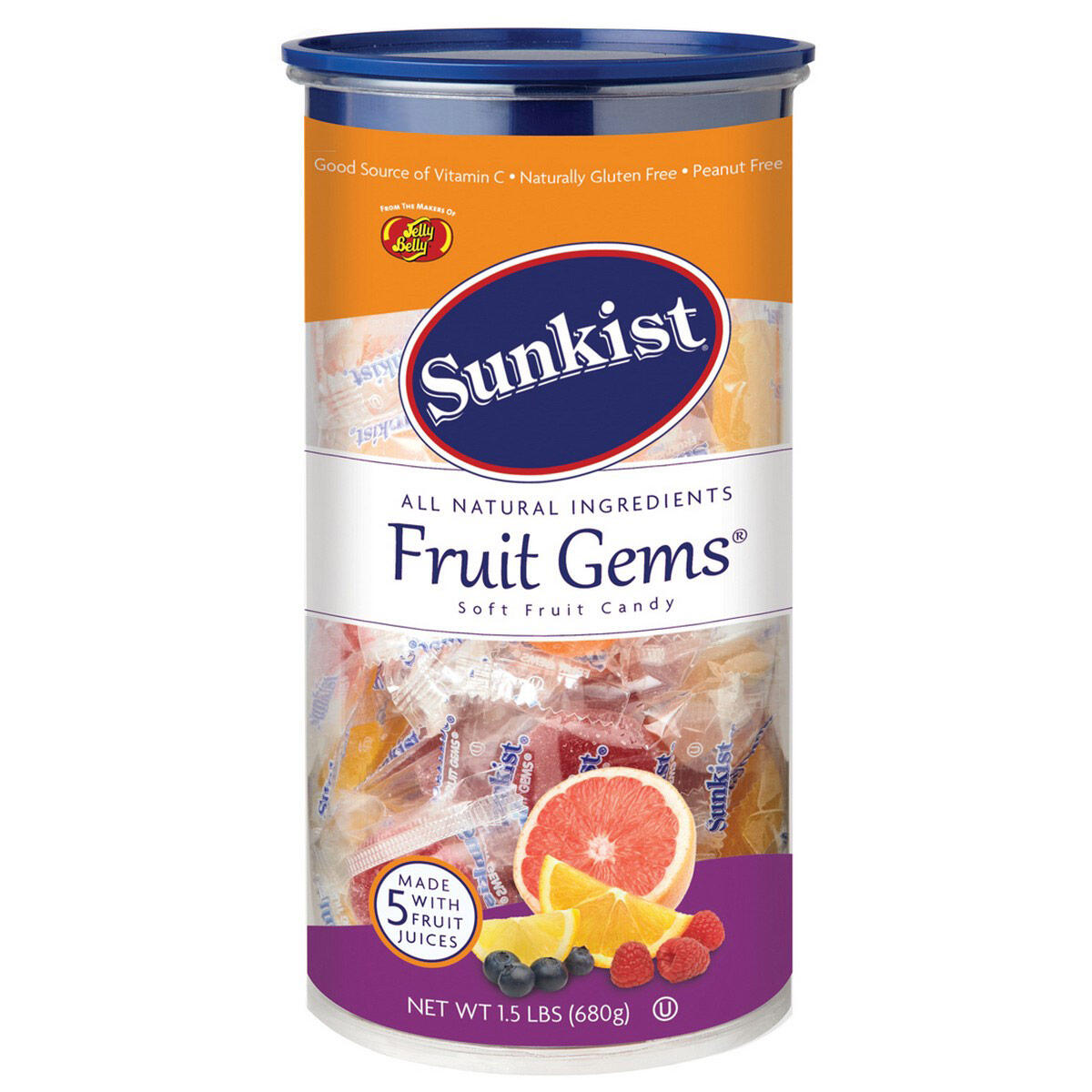 Sunkist® Fruit Gems Individually Wrapped  – 1.5 lb Can