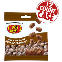 Milk Chocolate Jumbo Raisins  - 2.5 oz Bags - 12-count Case
